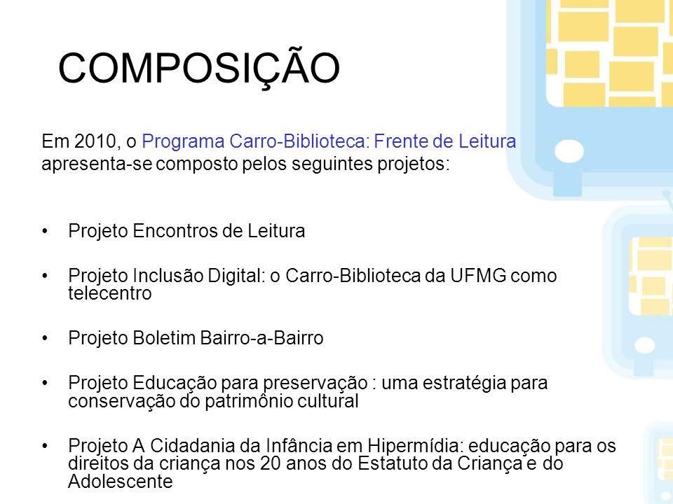 COMPOSIÇÃO Em 2010, o Programa Carro-Biblioteca: Frente de Leitura apresenta-se composto pelos seguintes projetos: Projeto Encontros de Leitura Projet
