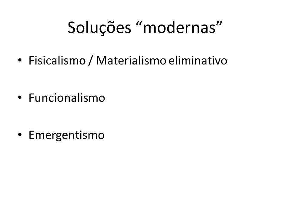 Soluções modernas Fisicalismo / Materialismo eliminativo Funcionalismo Emergentismo