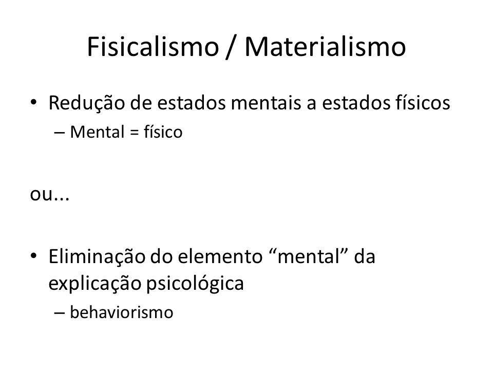 Fisicalismo / Materialismo Redução de estados mentais a estados físicos – Mental = físico ou...