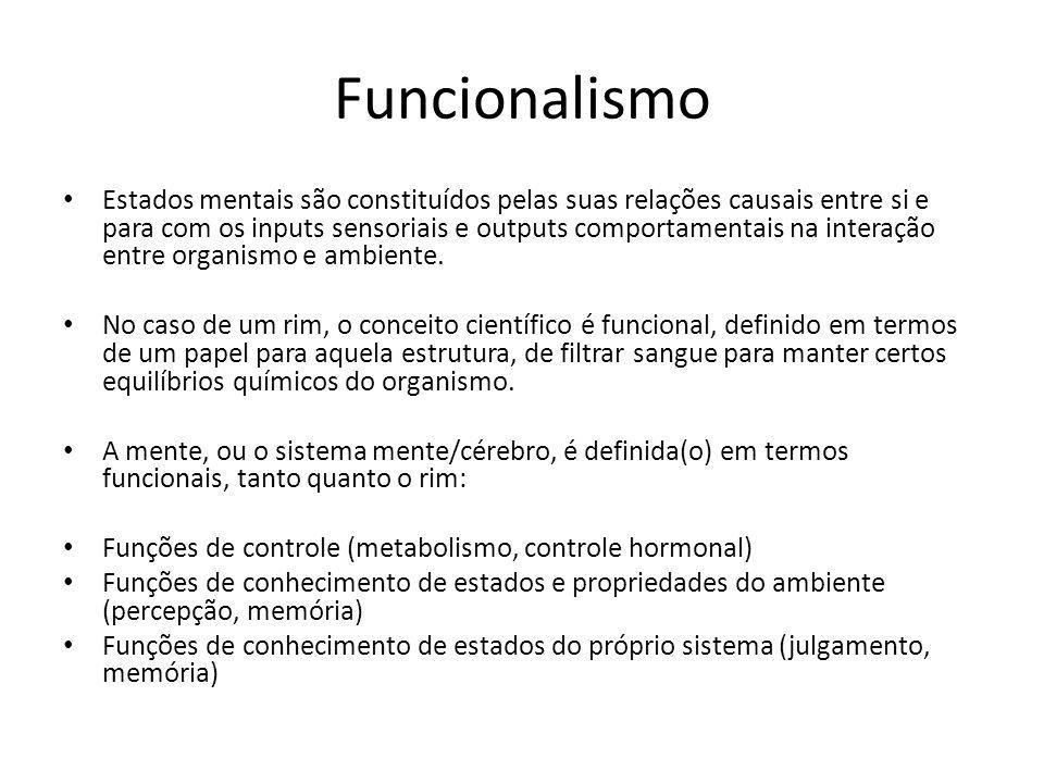 Funcionalismo Estados mentais são constituídos pelas suas relações causais entre si e para com os inputs sensoriais e outputs comportamentais na interação entre organismo e ambiente.