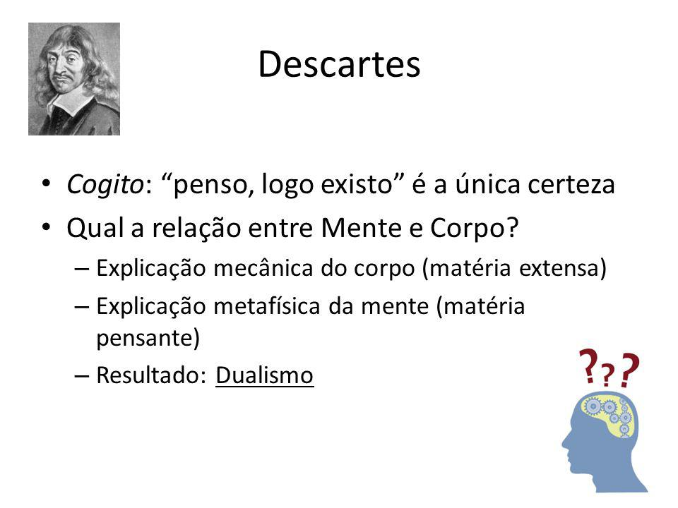 Descartes Cogito: penso, logo existo é a única certeza Qual a relação entre Mente e Corpo.