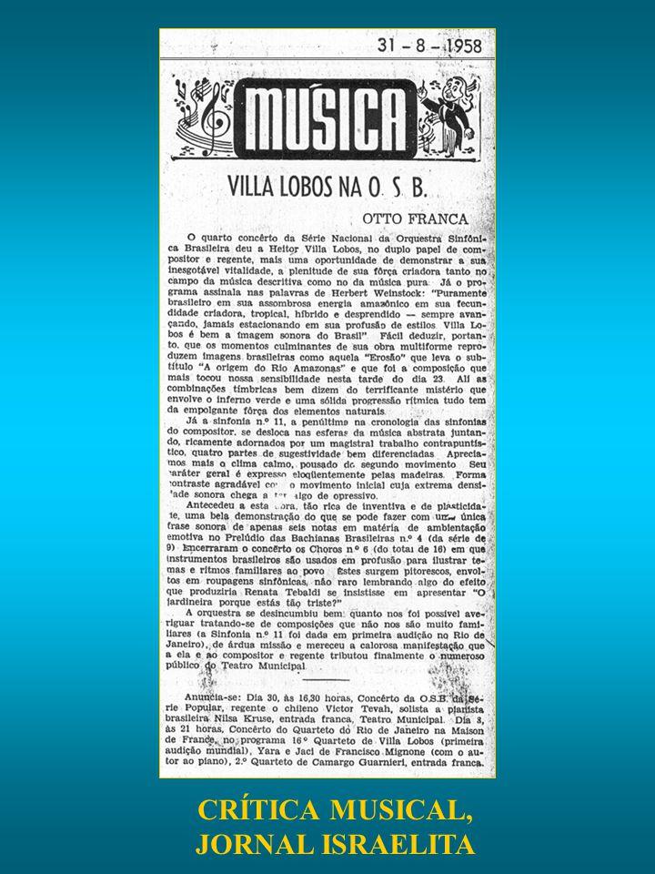 CRÍTICA MUSICAL, JORNAL ISRAELITA
