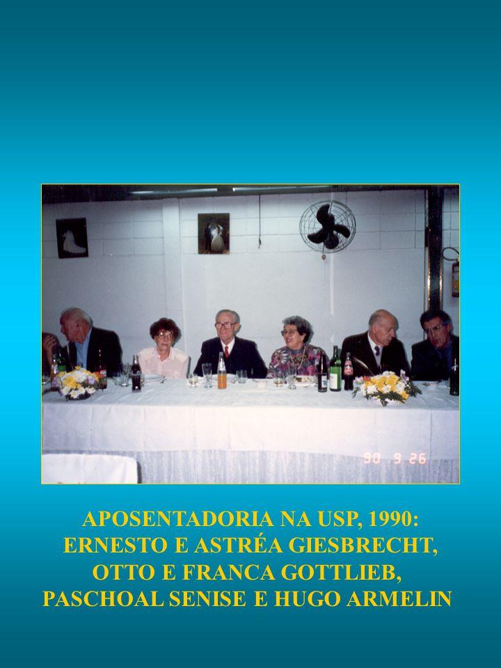 APOSENTADORIA NA USP, 1990: ERNESTO E ASTRÉA GIESBRECHT, OTTO E FRANCA GOTTLIEB, PASCHOAL SENISE E HUGO ARMELIN
