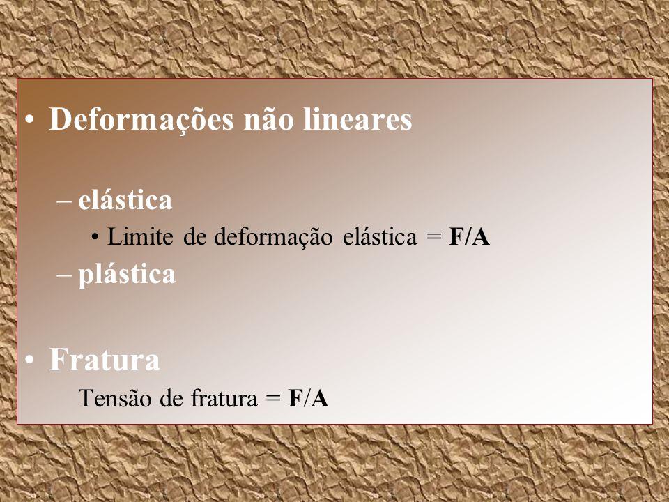 Deformações não lineares –elástica Limite de deformação elástica = F/A –plástica Fratura Tensão de fratura = F/A