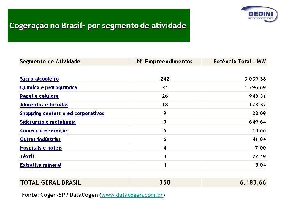 Cogeração no Brasil– por segmento de atividade Fonte: Cogen-SP / DataCogen (www.datacogen.com.br)www.datacogen.com.br