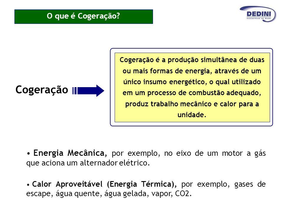 O que é Cogeração? Cogeração é a produção simultânea de duas ou mais formas de energia, através de um único insumo energético, o qual utilizado em um