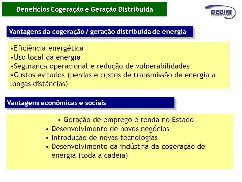 Benefícios Cogeração e Geração Distribuída Eficiência energética Uso local da energia Segurança operacional e redução de vulnerabilidades Custos evita