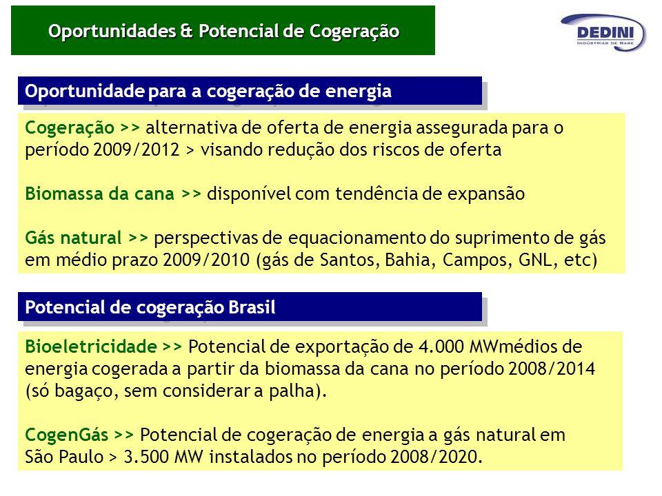 Cogeração >> alternativa de oferta de energia assegurada para o período 2009/2012 > visando redução dos riscos de oferta Biomassa da cana >> disponíve