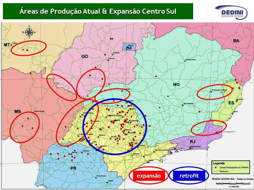 Áreas de Produção Atual & Expansão Centro Sul expansãoretrofit