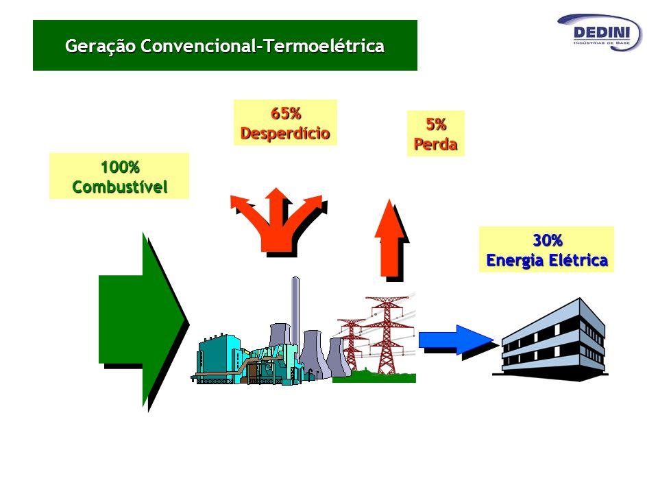 100%Combustível65%Desperdício5%Perda 30% Energia Elétrica Geração Convencional-Termoelétrica