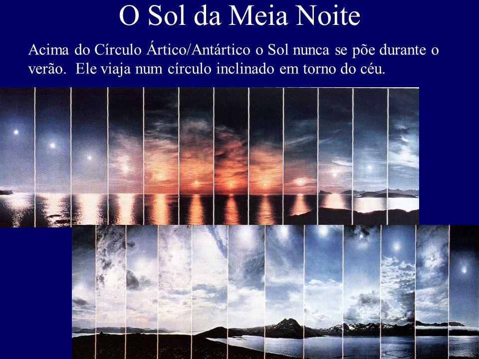 O Sol da Meia Noite Acima do Círculo Ártico/Antártico o Sol nunca se põe durante o verão. Ele viaja num círculo inclinado em torno do céu.