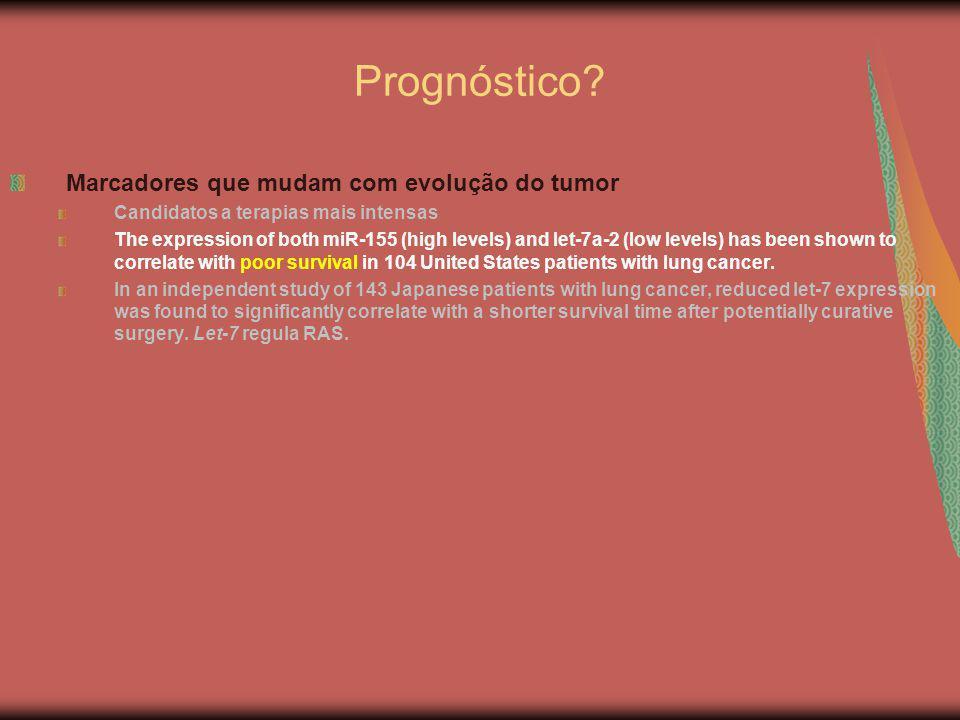 Prognóstico? Marcadores que mudam com evolução do tumor Candidatos a terapias mais intensas The expression of both miR-155 (high levels) and let-7a-2