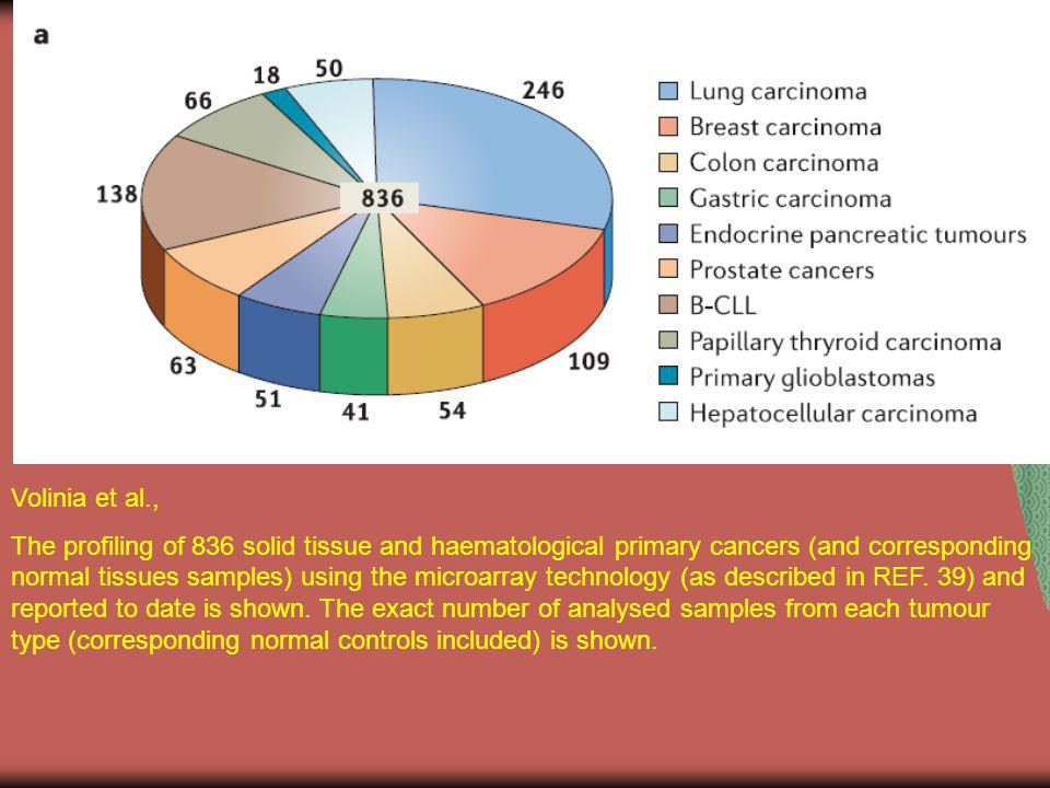 Volinia et al., The profiling of 836 solid tissue and haematological primary cancers (and corresponding normal tissues samples) using the microarray t