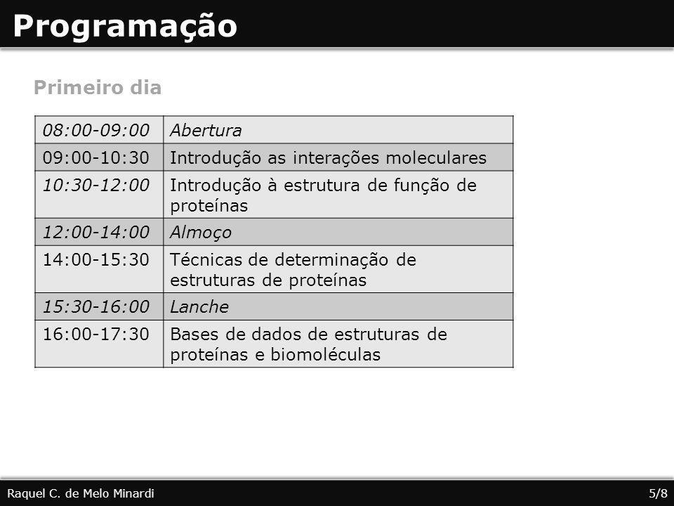Programação Raquel C. de Melo Minardi5/8 Primeiro dia 08:00-09:00Abertura 09:00-10:30Introdução as interações moleculares 10:30-12:00Introdução à estr