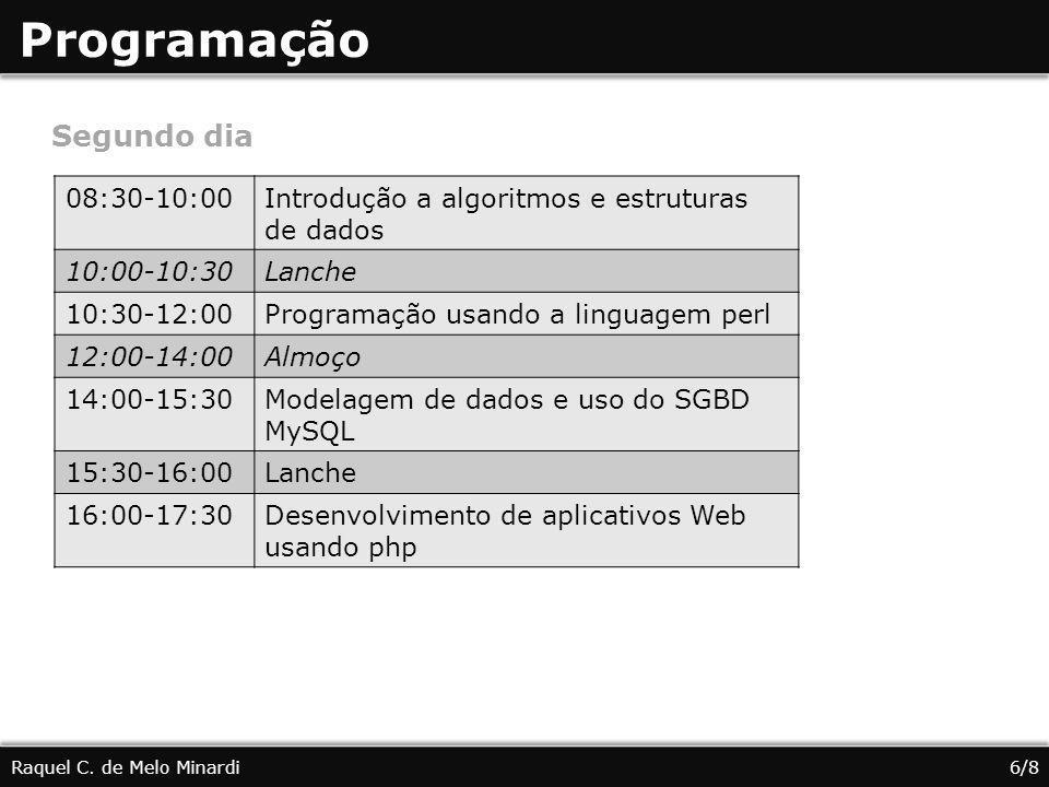 Programação Raquel C. de Melo Minardi6/8 Segundo dia 08:30-10:00Introdução a algoritmos e estruturas de dados 10:00-10:30Lanche 10:30-12:00Programação