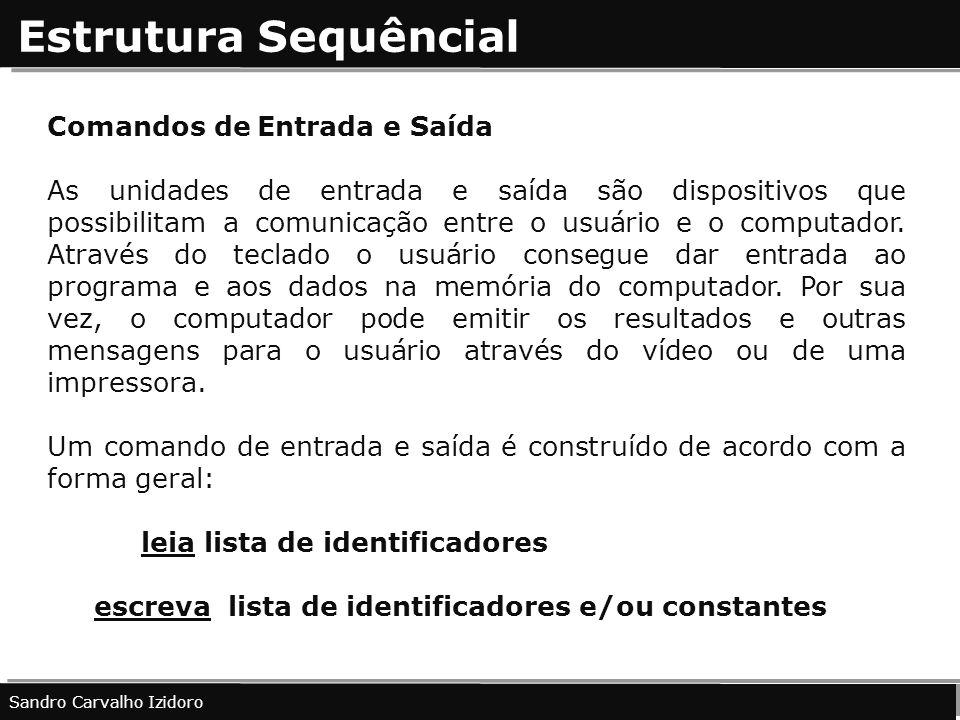 Estrutura Sequêncial Comandos de Entrada e Saída As unidades de entrada e saída são dispositivos que possibilitam a comunicação entre o usuário e o co