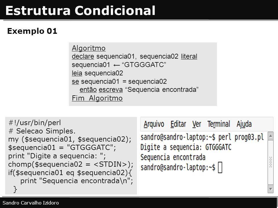 Estrutura Condicional Exemplo 01 Sandro Carvalho Izidoro #!/usr/bin/perl # Selecao Simples. my ($sequencia01, $sequencia02); $sequencia01 =