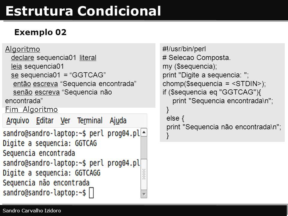 Estrutura Condicional Sandro Carvalho Izidoro Exemplo 02 Algoritmo declare sequencia01 literal leia sequencia01 se sequencia01 = GGTCAG então escreva