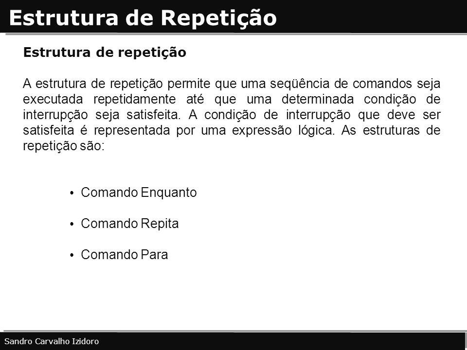 Estrutura de Repetição Sandro Carvalho Izidoro Estrutura de repetição A estrutura de repetição permite que uma seqüência de comandos seja executada re