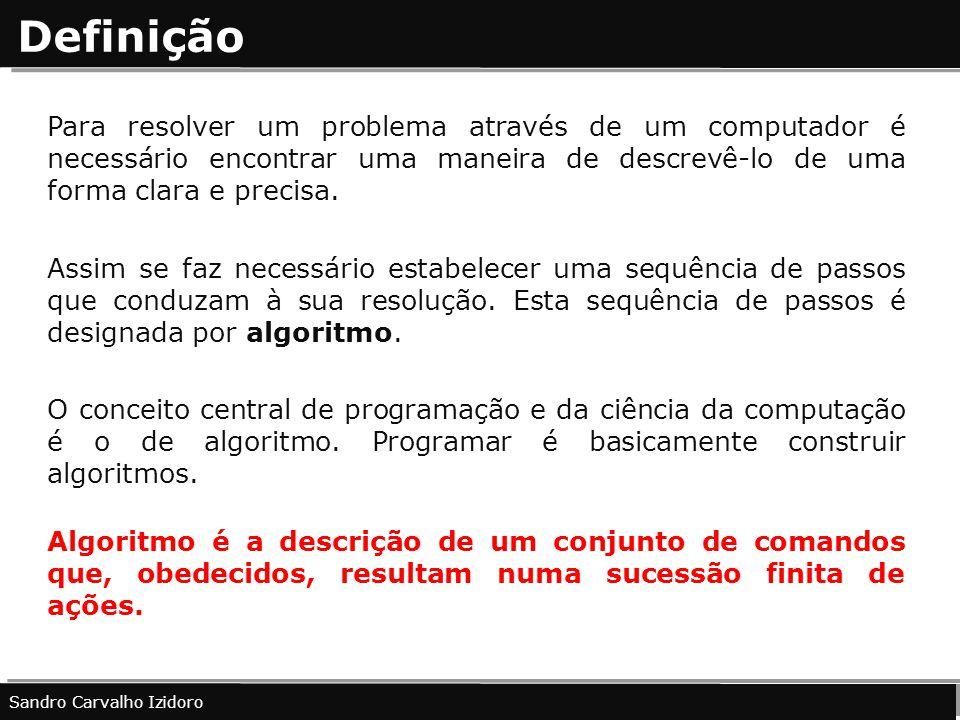 Definição Para resolver um problema através de um computador é necessário encontrar uma maneira de descrevê-lo de uma forma clara e precisa. Assim se
