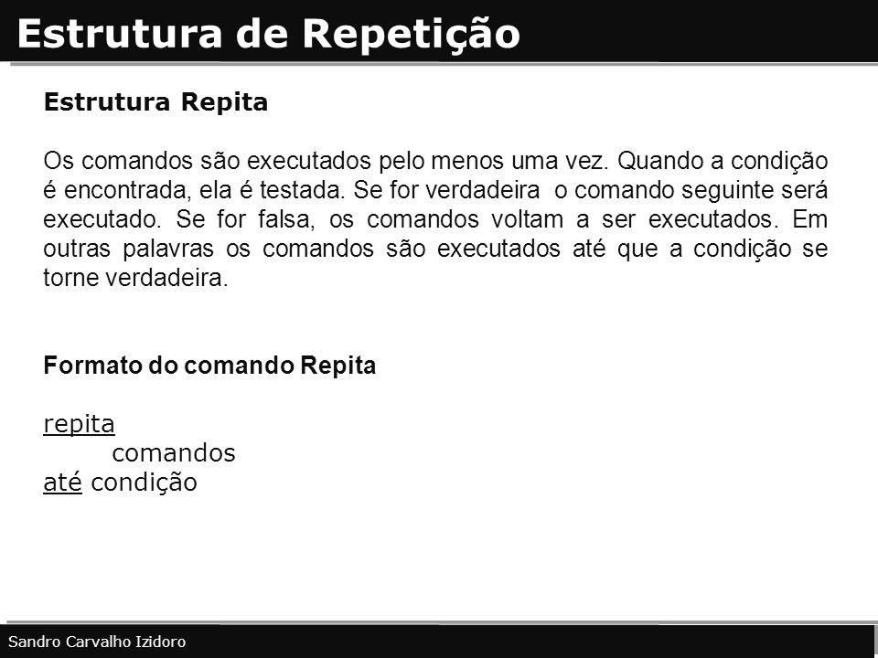 Estrutura de Repetição Sandro Carvalho Izidoro Estrutura Repita Os comandos são executados pelo menos uma vez. Quando a condição é encontrada, ela é t