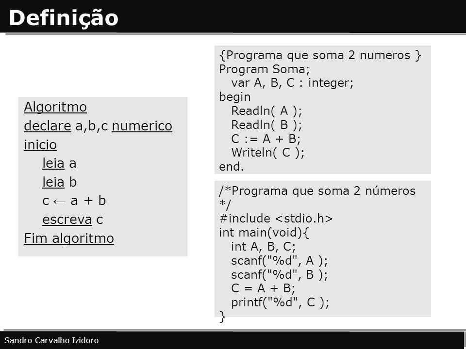 Definição Algoritmo declare a,b,c numerico inicio leia a leia b c a + b escreva c Fim algoritmo Sandro Carvalho Izidoro {Programa que soma 2 numeros }