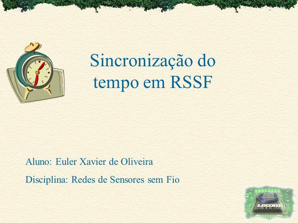 Sincronização do tempo em RSSF Aluno: Euler Xavier de Oliveira Disciplina: Redes de Sensores sem Fio