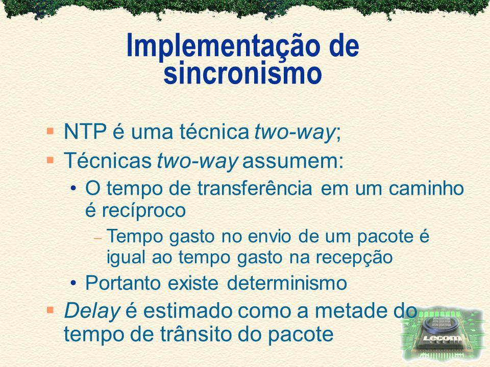 Implementação de sincronismo NTP é uma técnica two-way; Técnicas two-way assumem: O tempo de transferência em um caminho é recíproco – Tempo gasto no