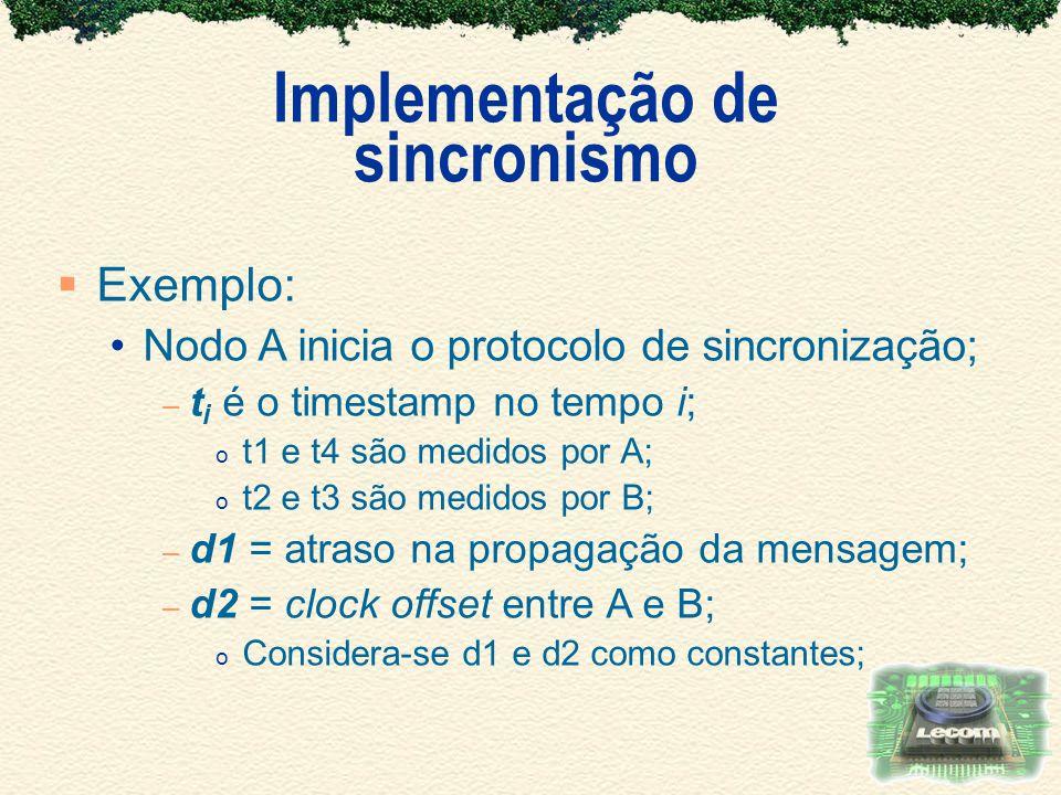 Implementação de sincronismo Exemplo: Nodo A inicia o protocolo de sincronização; – t i é o timestamp no tempo i; o t1 e t4 são medidos por A; o t2 e