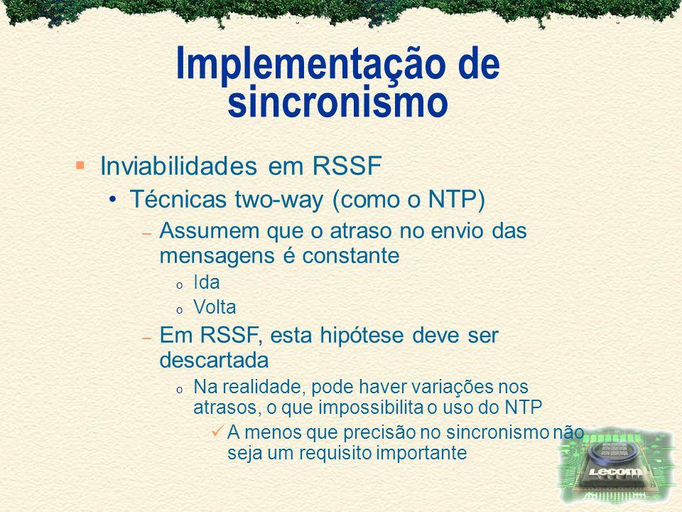 Implementação de sincronismo Inviabilidades em RSSF Técnicas two-way (como o NTP) – Assumem que o atraso no envio das mensagens é constante o Ida o Vo