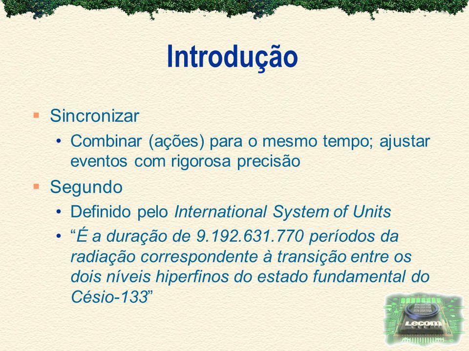 Introdução Sincronizar Combinar (ações) para o mesmo tempo; ajustar eventos com rigorosa precisão Segundo Definido pelo International System of Units