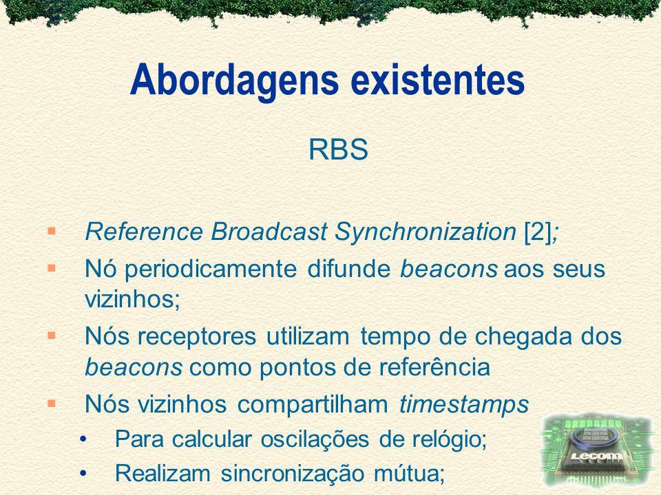 Abordagens existentes RBS Reference Broadcast Synchronization [2]; Nó periodicamente difunde beacons aos seus vizinhos; Nós receptores utilizam tempo