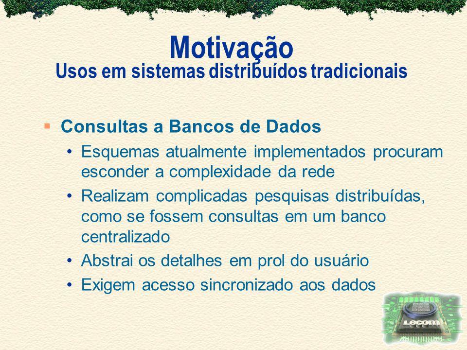 Motivação Usos em sistemas distribuídos tradicionais Consultas a Bancos de Dados Esquemas atualmente implementados procuram esconder a complexidade da