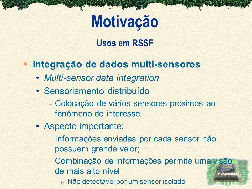 Motivação Usos em RSSF Integração de dados multi-sensores Multi-sensor data integration Sensoriamento distribuído – Colocação de vários sensores próxi