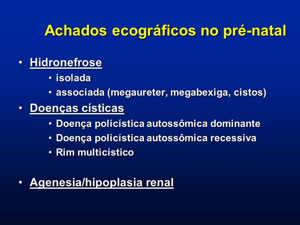 Achados ecográficos no pré-natal HidronefroseHidronefrose isoladaisolada associada (megaureter, megabexiga, cistos)associada (megaureter, megabexiga,