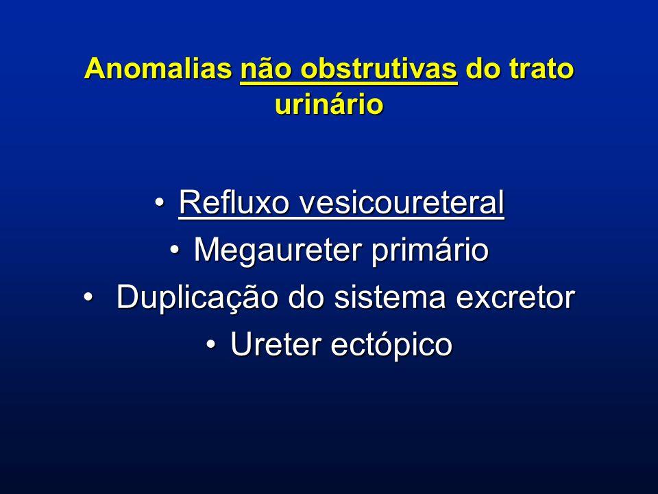 OBSTRUÇÃO DE JUNÇÃO URETEROPÉLVICA Apresentação clínica: hidronefrose fetal, ITU, dor abdominal Causa obstrutiva mais freqüente Pode ser intríseca e extrínseca Há relatos de melhora espontânea, sem cirurgia em 50 a 70% dos casos