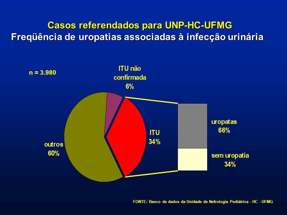 ASPECTOS DA ETIOPATOGÊNESE Uropatias associadas à infecção urinária FONTE: Banco de dados da Unidade de Nefrologia Pediátrica - HC - UFMG n = 913