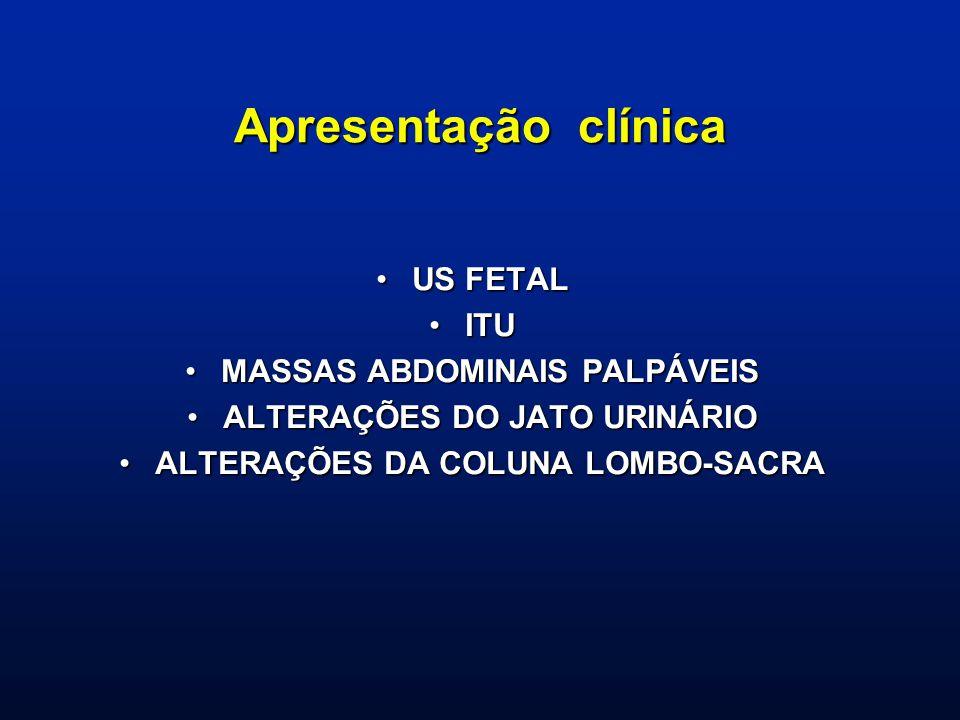 Apresentação clínica US FETALUS FETAL ITUITU MASSAS ABDOMINAIS PALPÁVEISMASSAS ABDOMINAIS PALPÁVEIS ALTERAÇÕES DO JATO URINÁRIOALTERAÇÕES DO JATO URIN