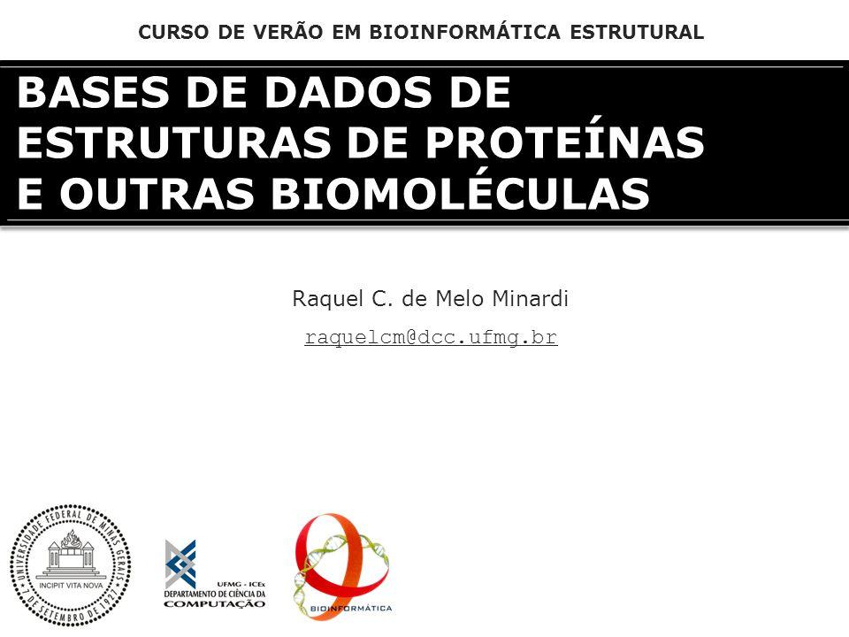 BASES DE DADOS DE ESTRUTURAS DE PROTEÍNAS E OUTRAS BIOMOLÉCULAS Raquel C. de Melo Minardi raquelcm@dcc.ufmg.br CURSO DE VERÃO EM BIOINFORMÁTICA ESTRUT