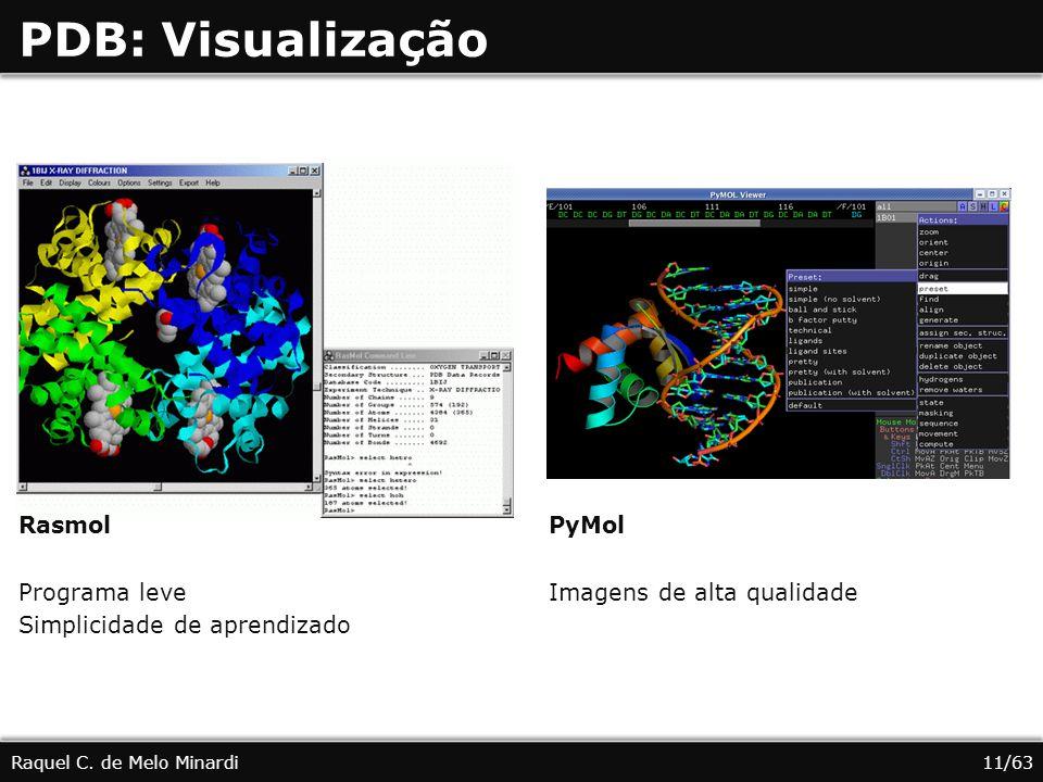 PDB: Visualização Raquel C. de Melo Minardi Rasmol Programa leve Simplicidade de aprendizado PyMol Imagens de alta qualidade 11/63