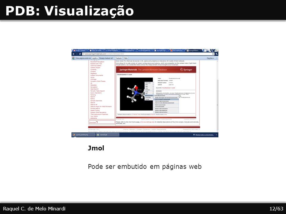 PDB: Visualização Raquel C. de Melo Minardi Jmol Pode ser embutido em páginas web 12/63