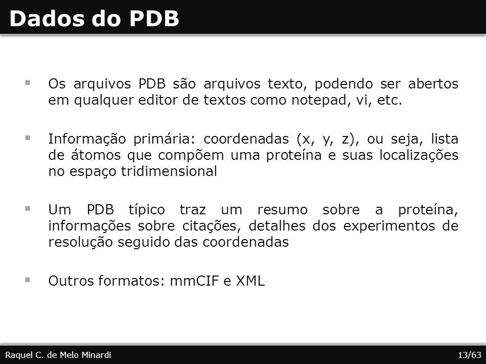 Dados do PDB Os arquivos PDB são arquivos texto, podendo ser abertos em qualquer editor de textos como notepad, vi, etc. Informação primária: coordena