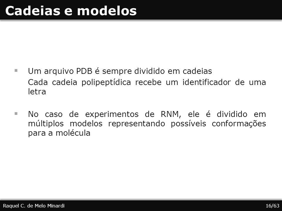 Cadeias e modelos Um arquivo PDB é sempre dividido em cadeias Cada cadeia polipeptídica recebe um identificador de uma letra No caso de experimentos d