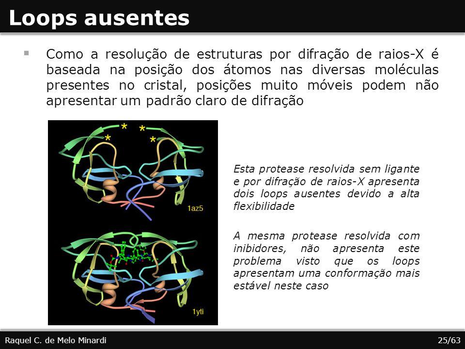 Loops ausentes Como a resolução de estruturas por difração de raios-X é baseada na posição dos átomos nas diversas moléculas presentes no cristal, pos