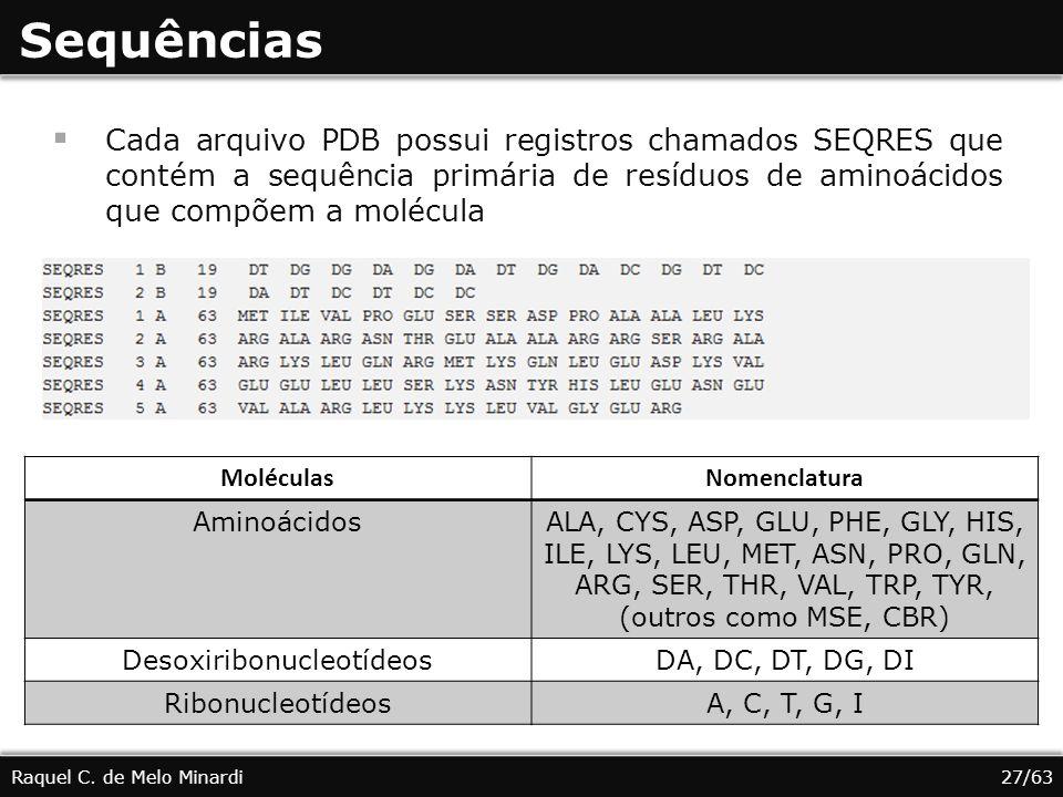 Sequências Cada arquivo PDB possui registros chamados SEQRES que contém a sequência primária de resíduos de aminoácidos que compõem a molécula Raquel