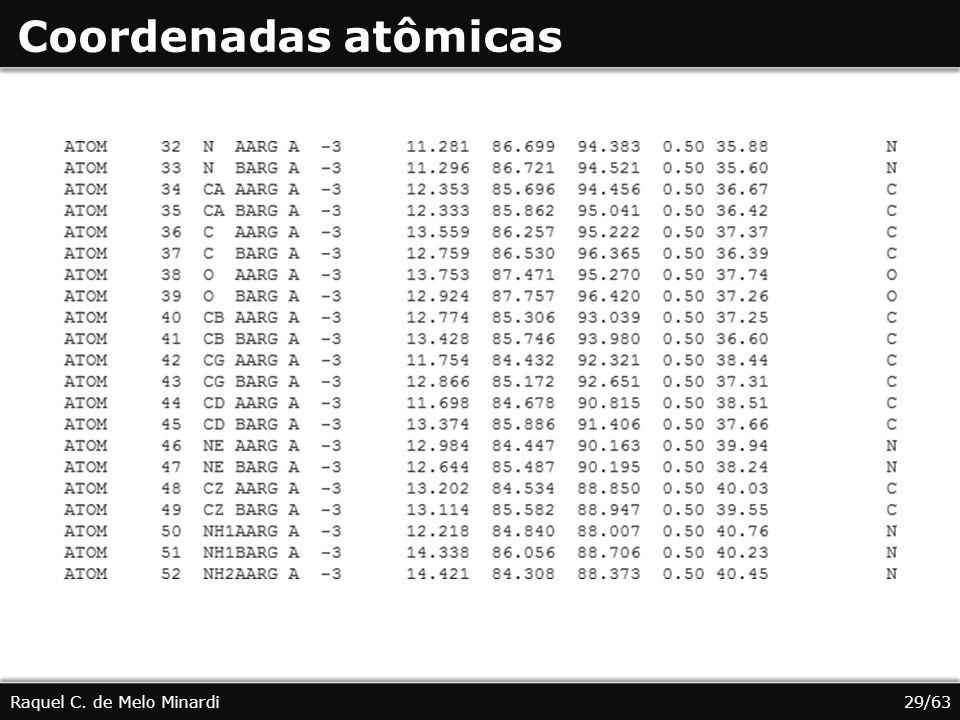 Coordenadas atômicas Raquel C. de Melo Minardi29/63