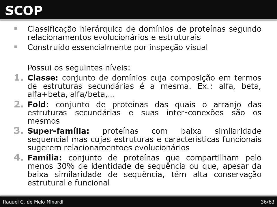 SCOP Raquel C. de Melo Minardi Classificação hierárquica de domínios de proteínas segundo relacionamentos evolucionários e estruturais Construído esse