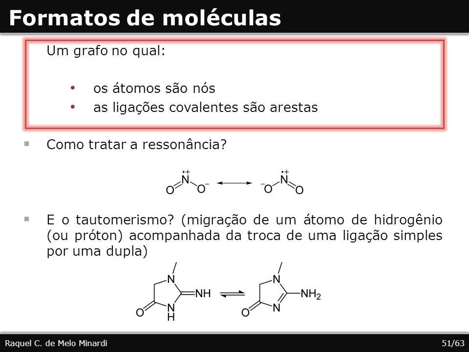 Formatos de moléculas Raquel C. de Melo Minardi Um grafo no qual: os átomos são nós as ligações covalentes são arestas Como tratar a ressonância? E o
