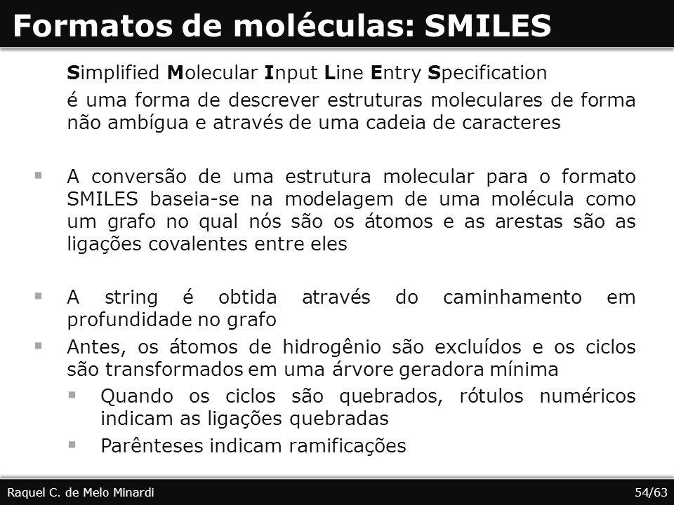 Formatos de moléculas: SMILES Raquel C. de Melo Minardi Simplified Molecular Input Line Entry Specification é uma forma de descrever estruturas molecu