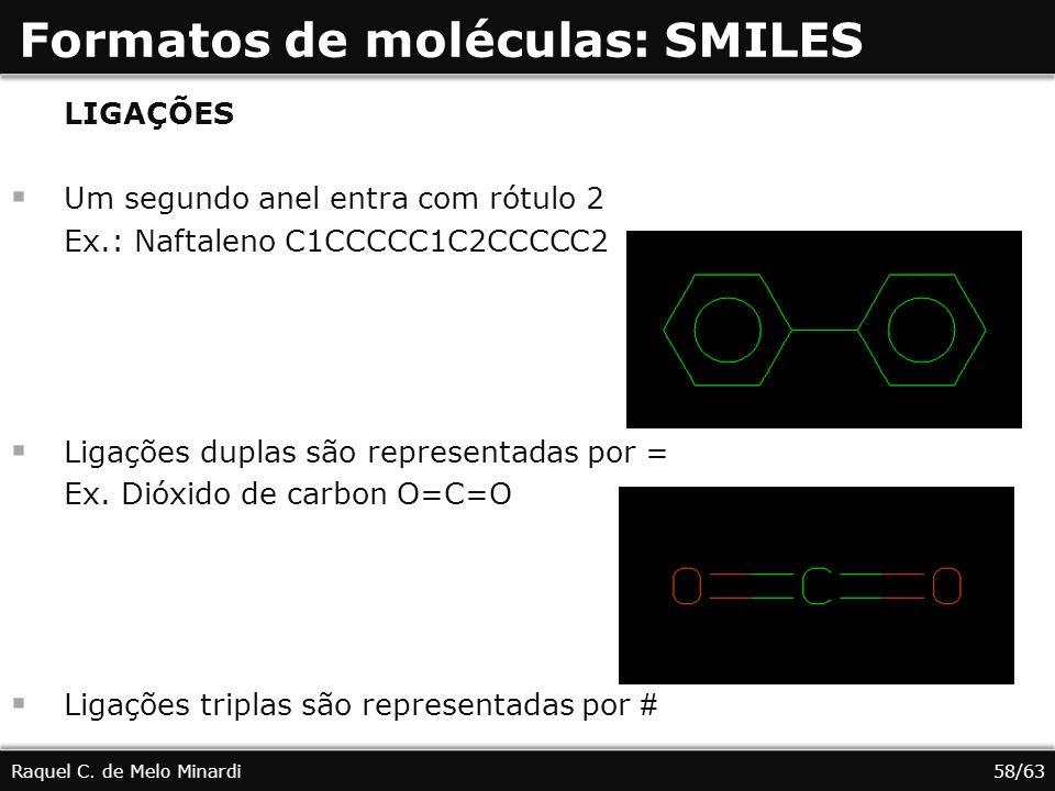 Formatos de moléculas: SMILES Raquel C. de Melo Minardi LIGAÇÕES Um segundo anel entra com rótulo 2 Ex.: Naftaleno C1CCCCC1C2CCCCC2 Ligações duplas sã